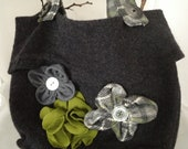 Felted purse blooming with handmade flowers