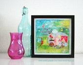 """NEW: Mixed Media 8 x 8 Art Print of original canvas """"Find a beautiful place and get lost"""", lovely home decor"""