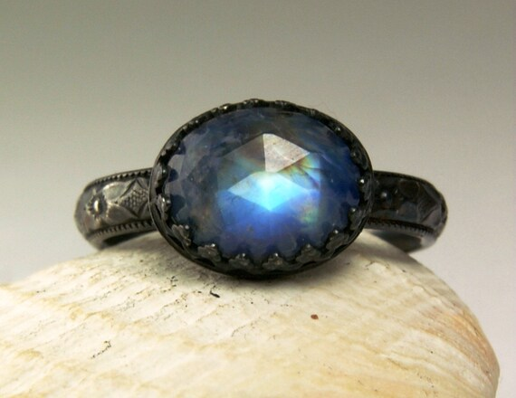 Sterling Silver Moonstone Ring, Faceted Blue Stone, Vintage Inspired, made to order