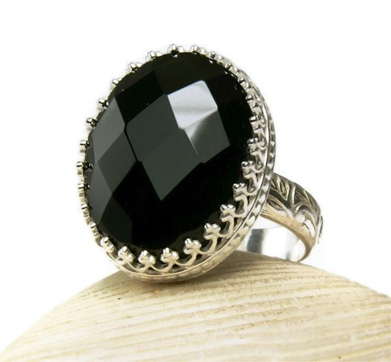 Sterling Silver Black Onyx, Power Ring, Big Stone, Faceted Cut, Handmade Jewelry-made to order in your size