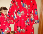 Red fleece bathrobe with puppys and bones girls size 8 and matching 18 inch doll robe
