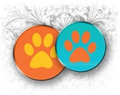 INSTANT DOWNLOAD - Paws 1 Inch Circles Digital Collage Sheet Download and Print