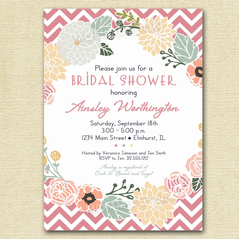 Flower Wreath Bridal Shower Invitation Flower Invitation