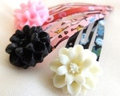 READY TO SHIP Mums on Printed Hair Clips set of 3, Snap clips, children baby hair accessories, Kawaii, New Year Birthday Party favor gift