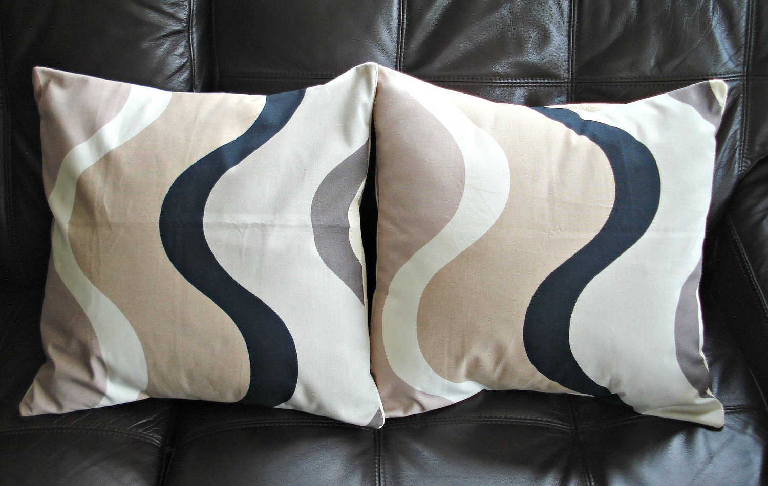 Black White Tan Throw Pillows : Throw pillow beige cream brown off white black swirl by VeeDubz