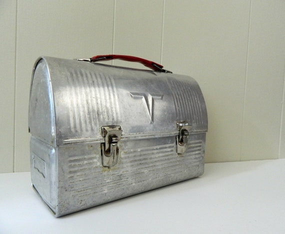 50s Vintage Industrial Dome Top Metal Lunch Box ....For Laborers Who Lunch