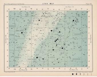 1910 star map 59 rare celestial star map original antique astronomy print english lithograph X