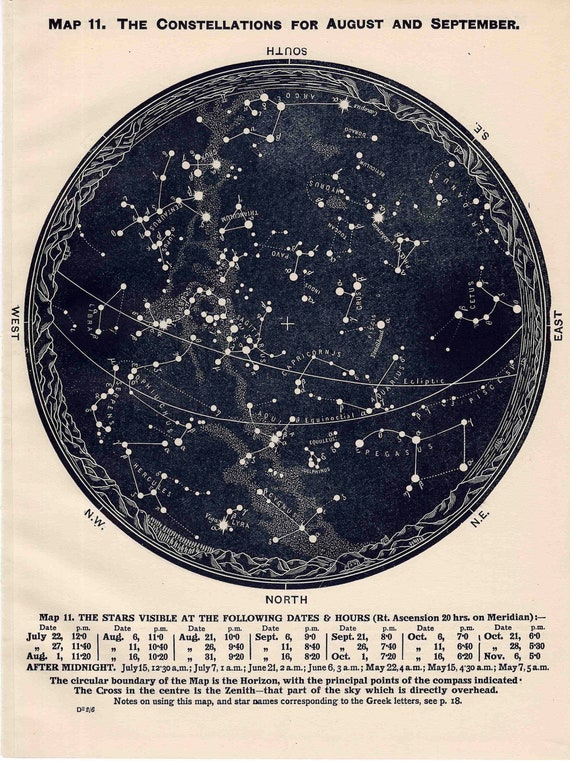 1942 constellations star map original vintage celestial print august september october