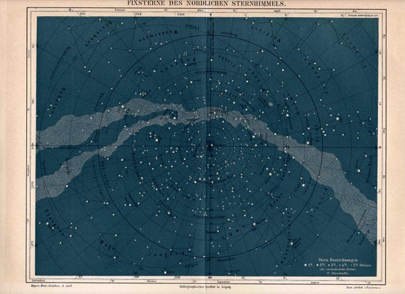 1894 northern heavens original antique star map celestial astronomy chart  print of the milky way