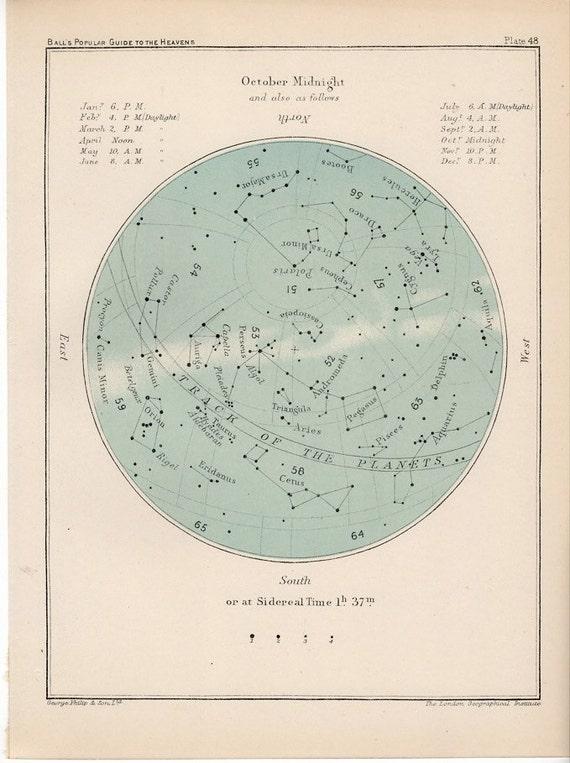 1910 october month rare celestial star map original antique astronomy print lithograph X libra scorpio