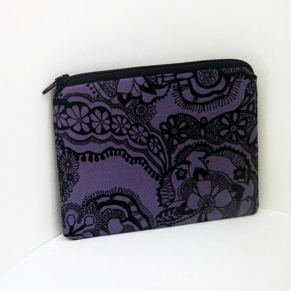 Small Zipper Pouch ORCHID BLACK LACE