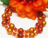Sale Red Orange Glass Bracelet - Glass Bracelet - Double Strand Bracelet - Czech Glass Bracelet - Fall