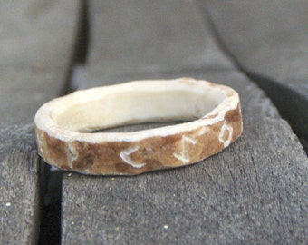 Antler Ring Carved Runes, dates, names ... Made to Order.