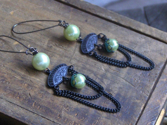 Wicked.  Gothic Victorian chain earrings. Lime glass blackened brass and gunmetal