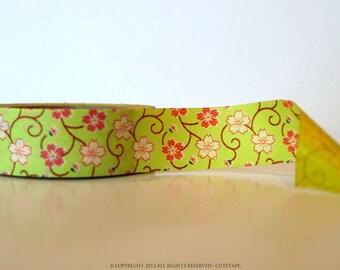 Mini Chugoku Washi Tape BLOSSOM Floral - YELLOW SINGLE