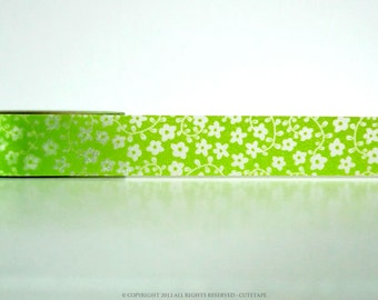 Floral Washi Tape Bright Green Flowers Paper Tape Wedding