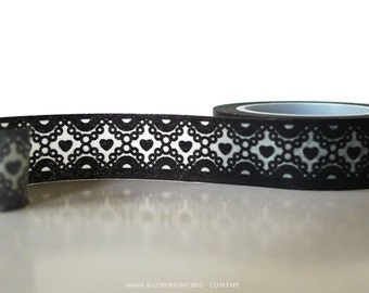 Chugoku Washi Tape Black Pearl Hearts