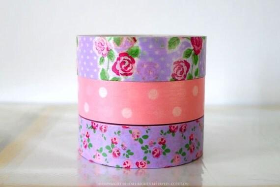 Japanese Purple Fuchsia ROSE and Baby Pink Dots Washi Tape Set of 3 PrettyTape