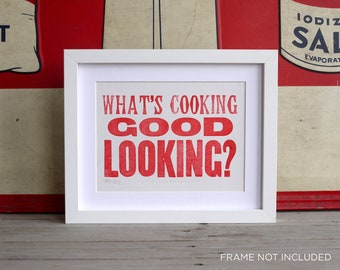 What's Cooking Good Looking - Letterpress Poster Card. Red.