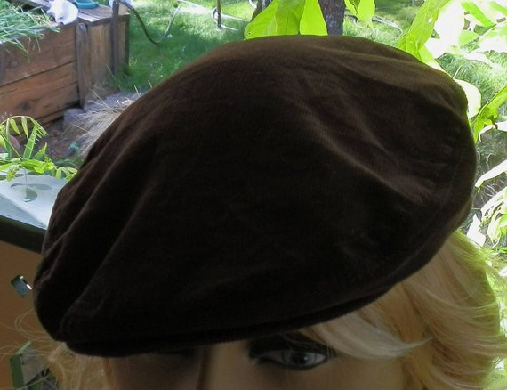Vintage Brown Corderoy Touring Hat with Adjustable Buckle Back