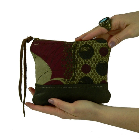 SALE MARK DOWN 75% ****ooak Chocolate and Cherries leather and silkscreen small zipper pouch