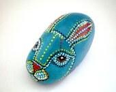 Painted stone // Teal Blue  Rabbit , Animal Totem -Dotted Aboriginal Art , garden decor - home decor