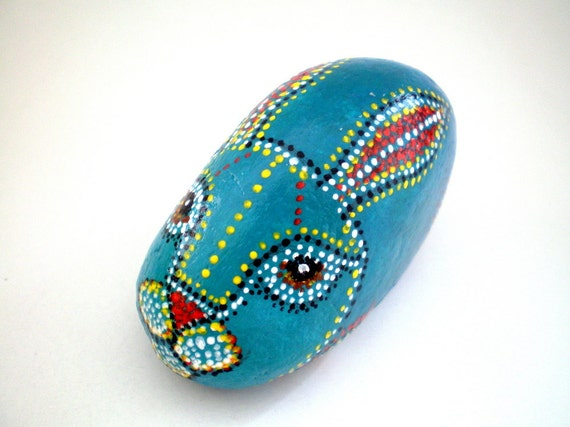 Painted stone // Teal Blue  Rabbit , Animal Totem -Dotted Aboriginal Art , garden decor - home decor