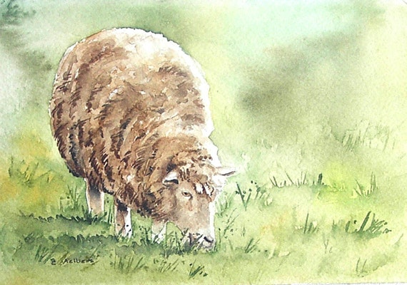 Original Sheep Watercolor for Sale - The Morning Calm 4 x 6