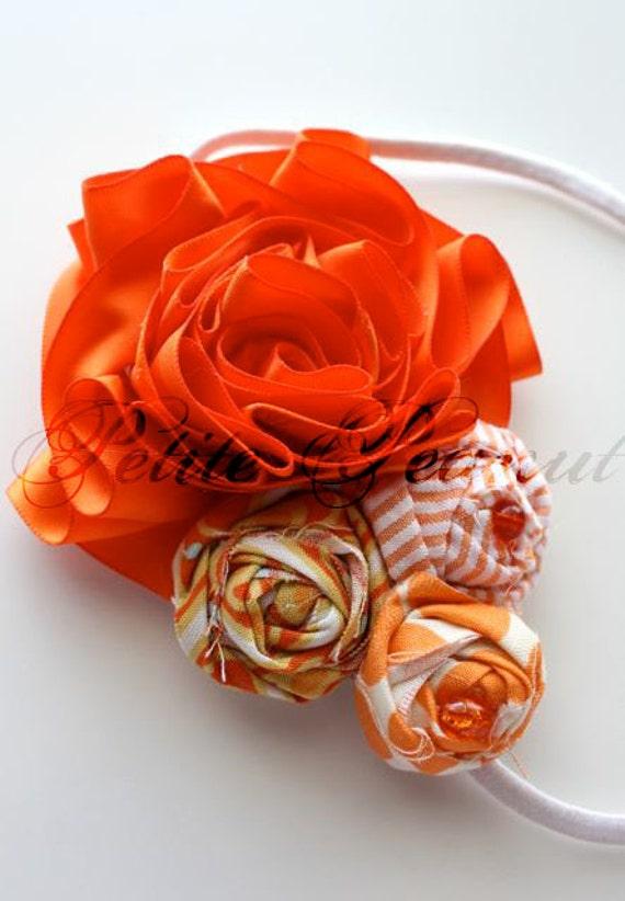 Vintage Couture Shabby Chic Shades of Orange Satin Flower headband- Orange - CUSTOM ORDER - Photography prop