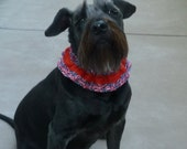 Bows & Stars Dog Scrunchie Collar with red braid trim - M - TRY ME PRICE