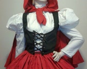 Little Red Riding Hood Victorian Womens Halloween Costume Skirt Blouse Vest Hooded Cape Large