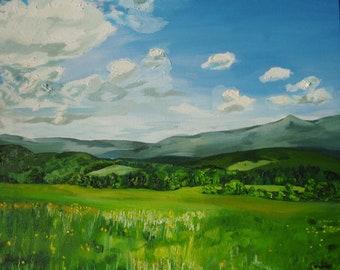 Mountain View, from Brattleboro Vermont, Original art print