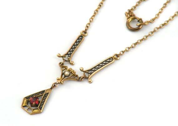 Edwardian Lavaliere Necklace, Gold Latticework with Seed Pearl & Square Cut Ruby Red Stone - Antique
