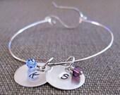 Personalized Charm Bangle Bracelet - Birthstones Initial Bangle. Sterling Silver Swarovski Crystals Bracelet