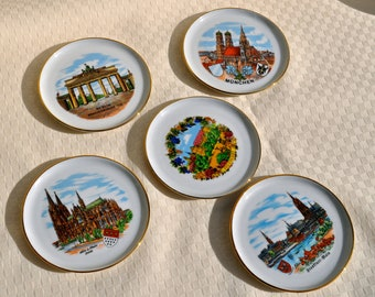 West German Porcelain Scenes of Germany Coasters or Pin Dishes. Set of 5