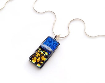 Pendant Necklace, Royal Blue & Gold, Mixed Patterns, Dichroic Jewelry