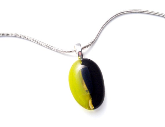 Necklace, Chartreuse, Green and Black Pendant, Fused Glass Pendant
