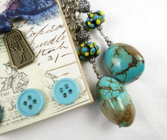 Chain Pull Pair for Ceiling Fan or Lamp Southwestern Style with Turquoise Nugget and Lampwork Beads