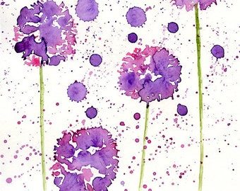 Violet Alliums- Flower painting-Watercolor-Archival Print from my original watercolor painting 8x10 inch