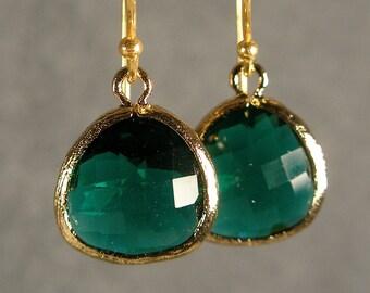 Teal Green Glass Gold Bridesmaids Earrings, Wedding Earrings, Gold Earrings, Bridesmaid Gifts (4714W)