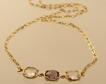 Crystal and Tanzanite Round Glass Gold Necklace, Bridesmaid Necklace, Wedding Necklace (936-3106Wn)