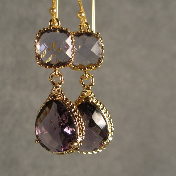 Tanzanite and Amethyst Glass Gold Braid Bridesmaid Earrings, Bridal Jewelry, Wedding Earrings, Bridesmaid Jewelry, Bridesmaid Gift (409G)