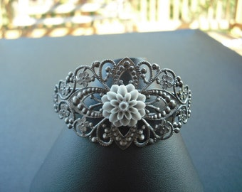 gun metal diamond filigree cuff bracelet