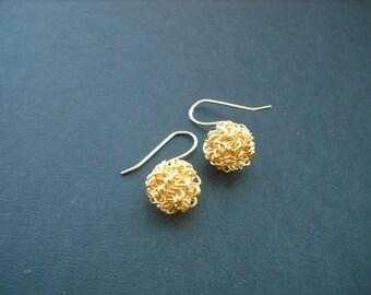 Matte Matal Thread Weaving Ball earrings