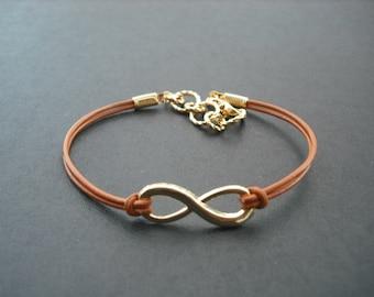 Gold Bracelet, Gold plated Infinity Bracelet, Friendship Bracelet