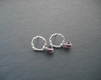 Amethyst Earrings, February Birthstone Earrings with Matte Silver Circle,Bridesmaid Earrings,Bridesmaids Gift,Flower Girl GiftBirthday Gift