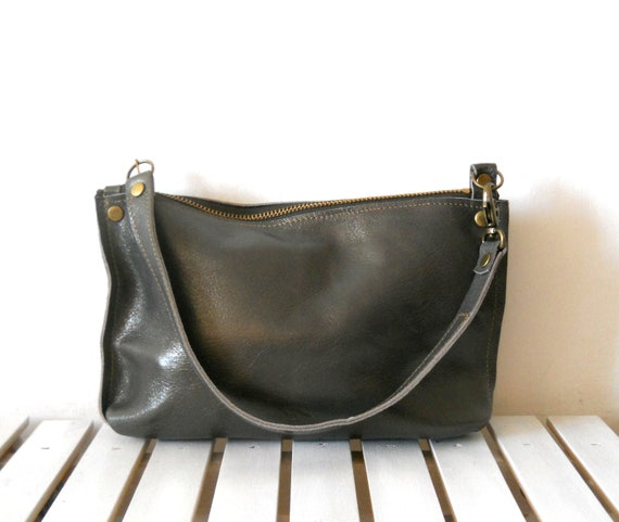 NOW ON SALE - Small metallic grey leather purse