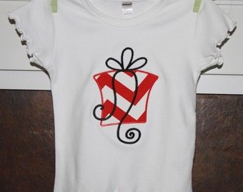 Long-Sleeve OR Short-Sleeve TShirt with Present Applique...You Design...Add Name or Initials FREE