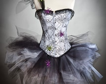 Custom Size Spider web with spiders and one shoulder strap Burlesque Corset tulle dress S-XL