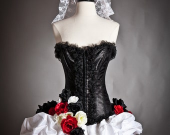 Custom Size Red White and black lace and tulle burlesque prom dress with roses Day of the Dead costume
